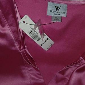 Worthington pink satin button down blouse